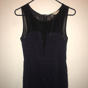 short navy and black mesh and lace dress L